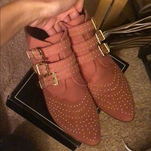 Cute studded dusty pink booties